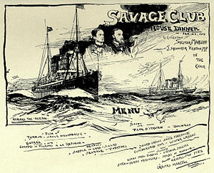 Savage Club - Menu card for a dinner in honour of the inventor of the radio, Guglielmo Marconi, in 1903