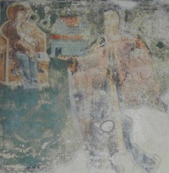 Savatije Sokolović - Fresco depicting Savatije with the model of his endowment, the Piva Monastery.