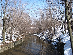 Scajaquada Creek - A view up Scajaquada Creek within Forest Lawn Cemetery.