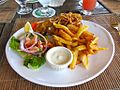 Scout's Place Fish & Chips with Curry Breading (6550034615).jpg
