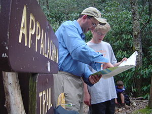 Scouts plan their hike on the Appalachian Trail.