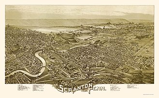 Scranton, Pennsylvania - Scranton, as depicted on an 1890 panoramic map