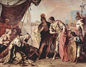 Sisygambis - Alexander at the tent of Darius's family, by Sebastiano Ricci
