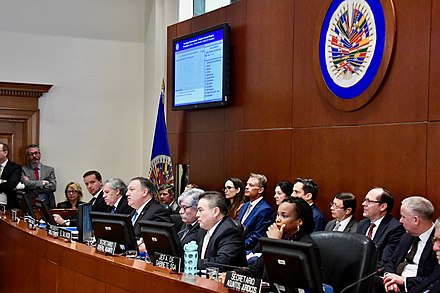 US Secretary of State Mike Pompeo speaks at the OAS Permanent Council in January 2019 Secretary Pompeo Delivers Remarks at the Organization of American States Headquarters (46863388441).jpg