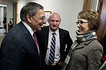 Secretary of Defense Leon E. Panetta, left, greets former U.S. Rep. Gabrielle Giffords and her husband, Mark Kelly, at the Pentagon Feb. 10, 2012 120210-D-TT977-015.jpg