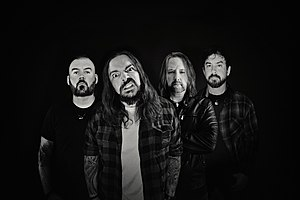 Seether in 2020. L-R: Stewart, Morgan, Humphrey, Lowery