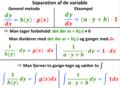 Separation af de variable. Generel metode og eksempel.png