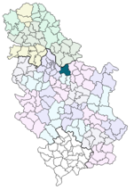 Location of Smederevo within Serbia