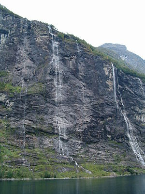 Seven Sisters Waterfall, Norway - Diminished flow of the Seven Sisters Waterfall in September.