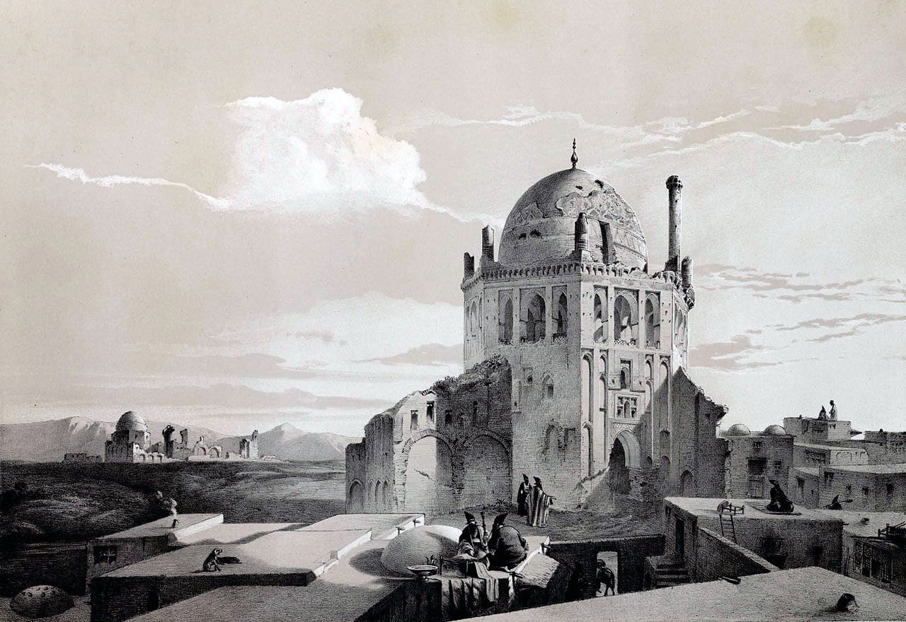 نگاره بنا در دوره محمدشاه قاجار اثر اوژن فلاندن