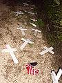 Sheehan protest crosses destroyed.jpg