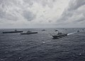 Ships from the Indian Navy, Japan Maritime Self-Defense Force and the U.S. Navy sail in formation in the Bay of Bengal during exercise Malabar 2017.jpg