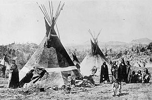 Bear River Massacre - A Shoshone encampment in the Wind River Mountains of Wyoming, photographed by W.H. Jackson, 1870