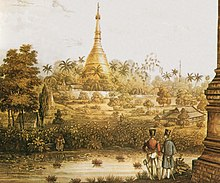 A British 1825 lithograph of Shwedagon Pagoda reveals early British occupation in Burma during the First Anglo-Burmese War.
