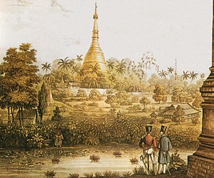 Shwedagon Pagoda - View of the Great Dagon Pagoda in 1825, from a print after Lieutenant Joseph Moore of Her Majesty's 89th Regiment, published in a portfolio of 18 views in 1825-1826 lithography