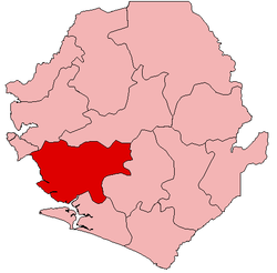 Location of Moyamba District in Sierra Leone