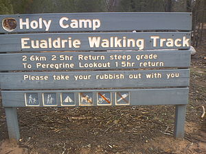 Weddin Mountains National Park - Signboard in Holy Camp advertising walk