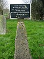 Sign and stone in Englishcombe churchyard - geograph.org.uk - 700197.jpg