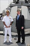 Sir Michael Fallon and Vice Admiral Girish Luthra on board INS Kolkata.jpg