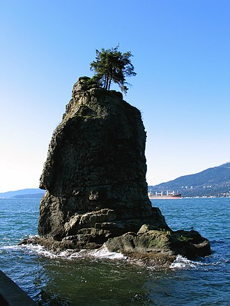 E. Pauline Johnson - Siwash Rock in Stanley Park, which story is told in Legends of Vancouver. Johnson's burial site is nearby. (Photo by Andrew Raun.)