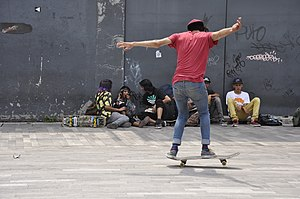 Shove-it - Image: Skateboarding at Mexico City Flip 073