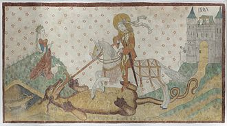 Aarhus Cathedral - A fresco of St. George with the dragon inside the Aarhus Cathedral
