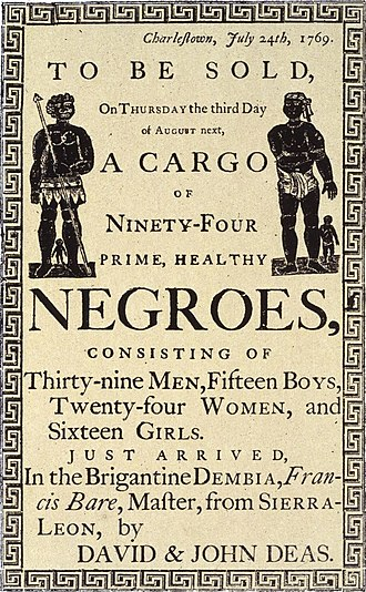 Racism in the United States - Reproduction of a handbill advertising a slave auction in Charleston, South Carolina, in 1769.