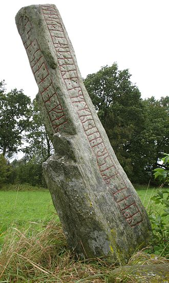 Nīþ - Runestone Sm 5 uses the opposite of niðingr, or oniðingr, to describe a man who died in England.