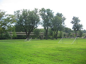 Milton State Park - Soccer fields, picnic tables, and the Pennsylvania Route 642 Bridge on Milton State Park