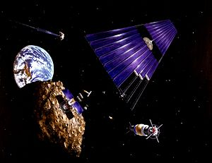 Asteroid mining - Image: Solar power satellite from an asteroid