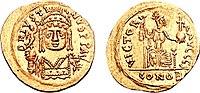 Sólido de Justino II, en cuyo reinado se inició una nueva guerra con Persia.