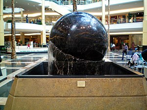 Somerset Collection - One of the two Granite Sorvikivi Floating Stone spheres at Somerset Collection North.