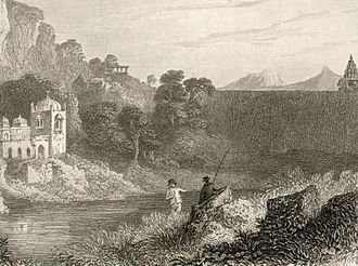 James Tod - Etching of Tod fishing in the Banas River in Rajasthan