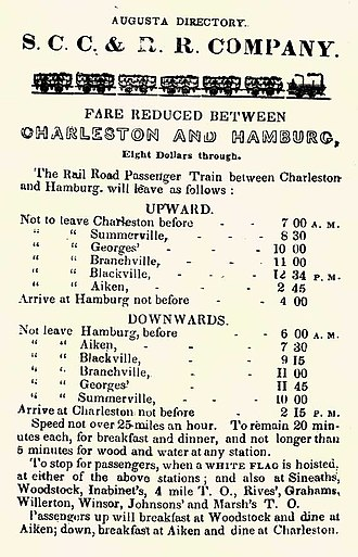 South Carolina Canal and Railroad Company - Image: South Carolina RR Schedule 1841