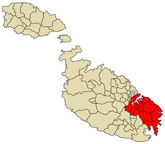 South Eastern Region - Image: South Eastern Region Malta map