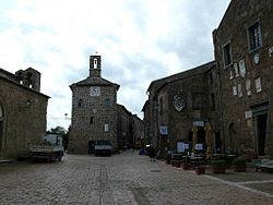 The main square in Sovana