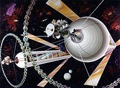 Une paire de cylindres O'Neill à un point de Lagrange, vue d'artiste pour la NASA, 1970.