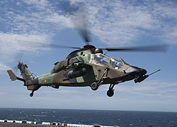 Spanish Eurocopter EC665 Tigre takes off from the USS Kearsarge (LHD-3).jpg