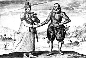 A 17th-century engraving of Dutch explorer Joris van Spilbergen meeting with King Vimaladharmasuriya in 1602 SpilbergenVimala.jpg