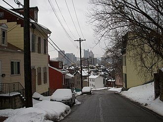 Spring Garden (Pittsburgh) - Row houses on hilly Itin Street afford a powerful view of the skyline.