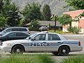Springville Police car, older style, Utah.JPG