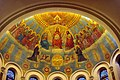 St. Benedict Parish (Terre Haute, Indiana), interior, detail of apse mural, the Trinity and the Heavenly Court.jpg