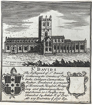 Diocese of St David's - An engraving of St. David's Cathedral c.1790 with an account of its history