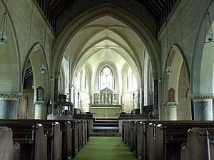 Fawley, Berkshire - In the nave of St Mary's, looking east towards the chancel