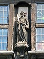St Bartholomew statue on St Bartholomew-the-Great gatehouse, City of London, England.jpg