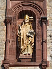 Statue of Gregory II on the facade of St. Bonifatius, Heidelberg