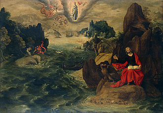 Events of Revelation - Landscape with St John the Evangelist at Patmos by Tobias Verhaecht, 1598. The woman and the dragon are shown in the sky.