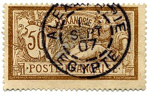 French post offices in Egypt - 50-centime Type Merson design for Alexandria, issued 1902, this one used in the city in 1907