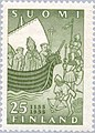 Stamp of Finland - 1955 - Colnect 46201 - Ship with Bishop Henrik and Clergy Heathens on Land.jpeg