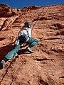 Starr-071222-0266-Salsola tragus-habitat with Kim climbing-Cow Lick Crag Calico Basin-Nevada (31400601581).jpg